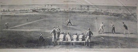 1870 baseball - Atlantics vs. Red Stockings. Harper's Weekly