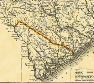 Map of route for the Charleston & Hamburg line.