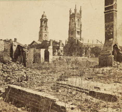 Archdale Street - damage from 1861 fire and Federal bombardment. St. Johns Lutheran & Unitarian Churches.