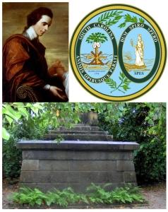 TOP: Arthur Middleton & the Great Seal of South Carolina BOTTOM: Middleton tomb at Middleton Place