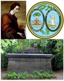 TOP: Arthur Middleton & the Great Seal of South Carolina BOTTOM: Middleton tomb at Middleton Place