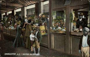 old market stalls - postcard