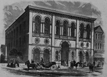 South Carolina Institute Hall on Meeting Street. Harper's Weekly illustration