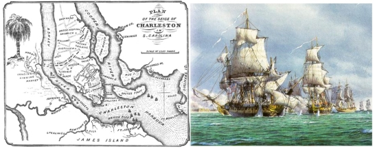 Left: Plan for the British Siege of Charlestown. Right: British fleet sails past Ft. Moultrie.
