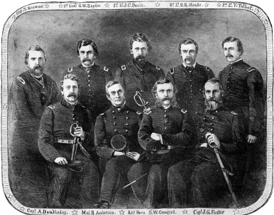 Federal officers at Fort Sumter. BACK ROW, L-R: Capt. Seymour, 1st Lt. Snyder, 1st Lt. Davis, 2nd Lt. Meade, 1st lt. Talbot. FRONT ROW, L-R: Capt. Doubleday, Major Anderson, Asst. Surgeon Crawford, Capt. Foster. Courtesy Library of Congress