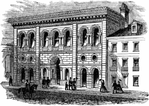 South Carolina Institute Hall, street view, (Harper's Weekly)