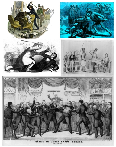 Various editorial illustrations of the Preston Brooks' attack on Sen. Charles Sumner