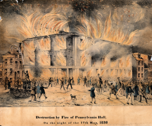 Pennyslvania Hall burning