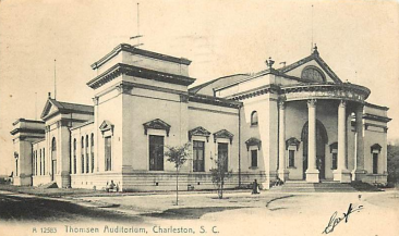 Thompson Auditorium, built for the Confederate Reunion and later became the Charleston Museum. It later burned, with only the columns remaining in Cannon Park.