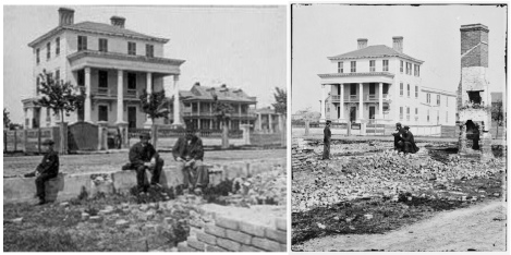 Two views of the O'Conner House, 180 Broad Street, where Union officers were imprisoned within range of Federal guns.