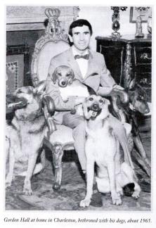 Gordon Langley Hall and dogs.