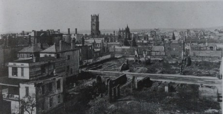 Charleston, after the War and fire destruction. Looking  west at St. John's Lutheran and Unitarian Churches