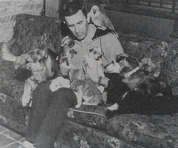 Gordon Hall with his dogs.