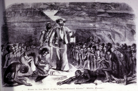 Africans in the hold of a slave ship, during the Middle Passage