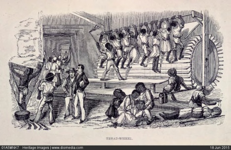 01A5MNK7; 'Tread-Wheel'; slaves on a treadmill, Jamaica, 1843. Artist: Unknown