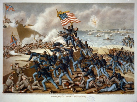 The Storming of Ft. Wagner, lithograph by Kurz and Allison,1890