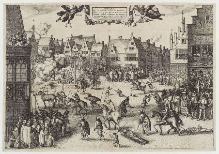 Execution of the conspirators of the Gunpowder Plot, including Guy Fawkes.
