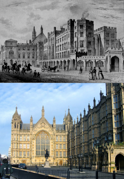 Old Palace Yard. TOP: Houses of Parliament before the 1834 fire. BOTTOM: Modern view the Old Palace Court, (photo by author)